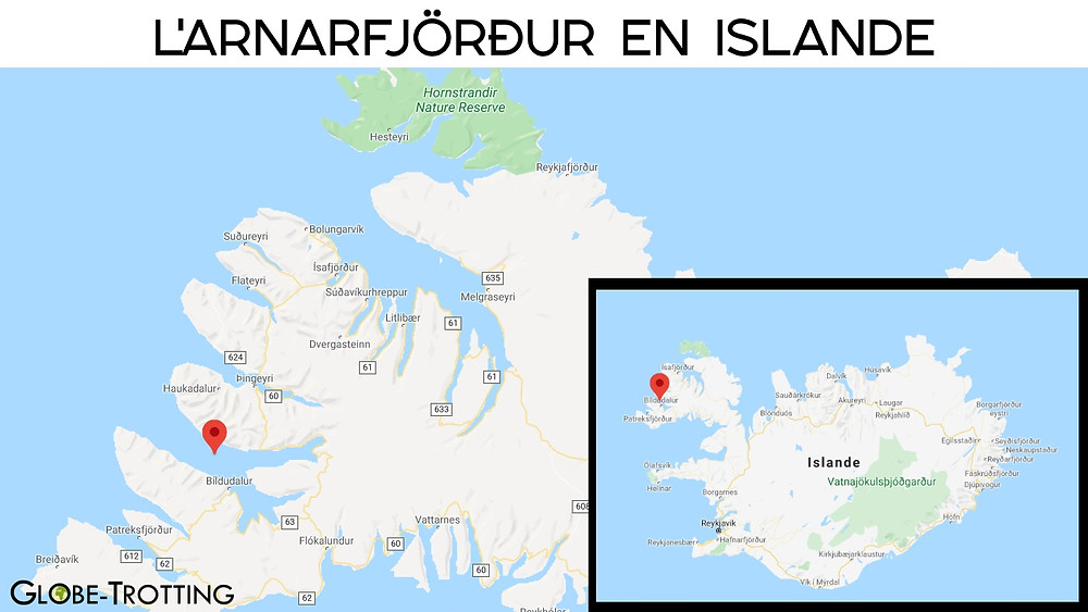 Carte fjord Arnarfjörður  islande