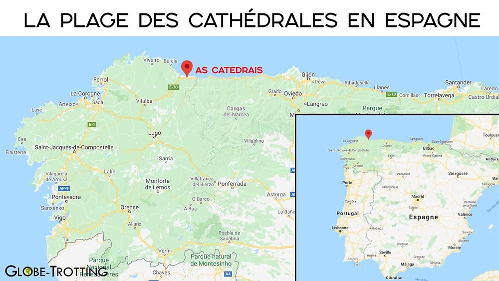 Carte la plage des Cathédrales en Espagne