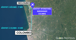Distance aéroport Colombo et Negombo carte