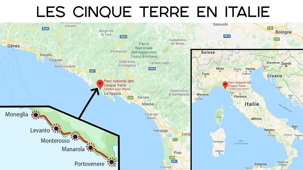 Carte 5 terres en italie