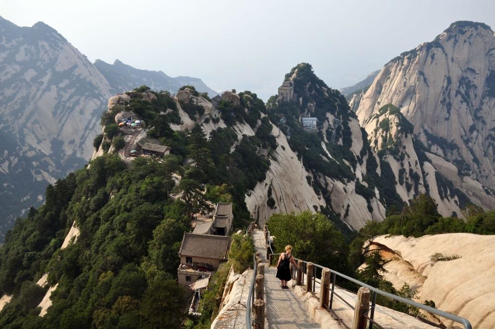 descente mont Hua Shan en Chine