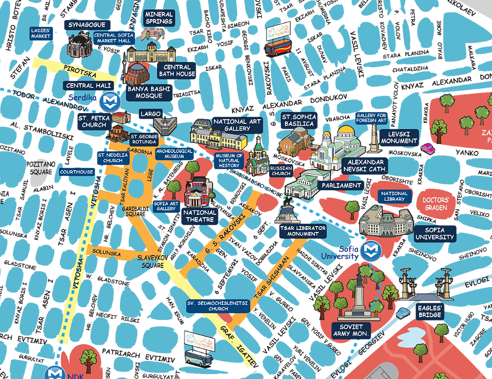 Carte touristique Sofia Bulgarie