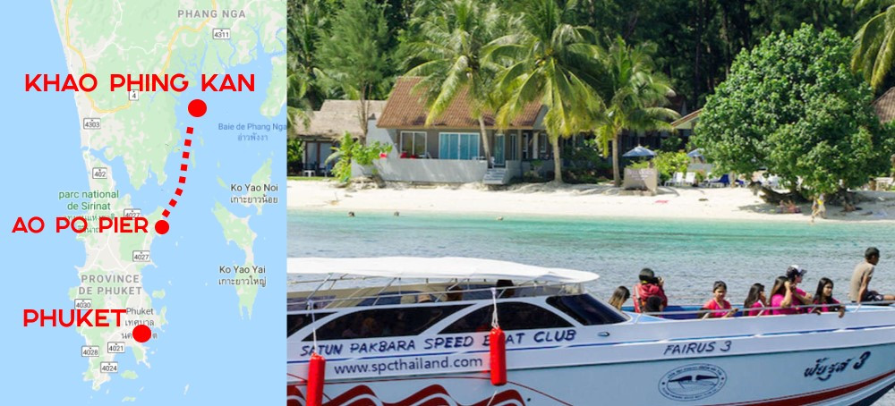 Carte Trajet Khao Phing Kan en bateau
