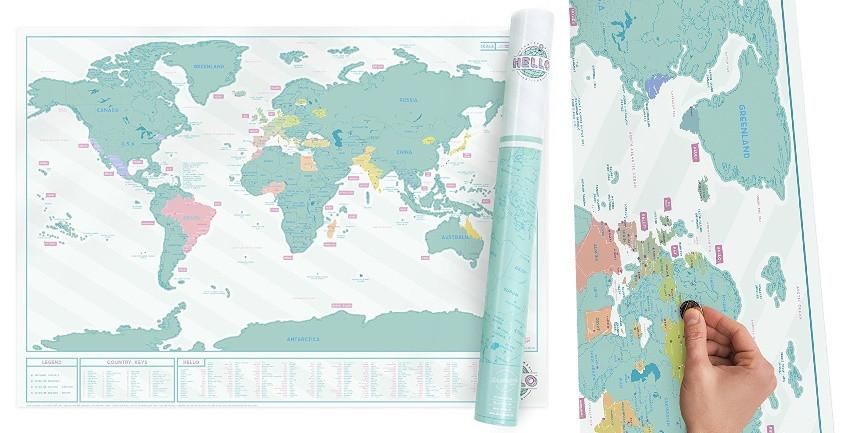 carte du monde à gratter couleur