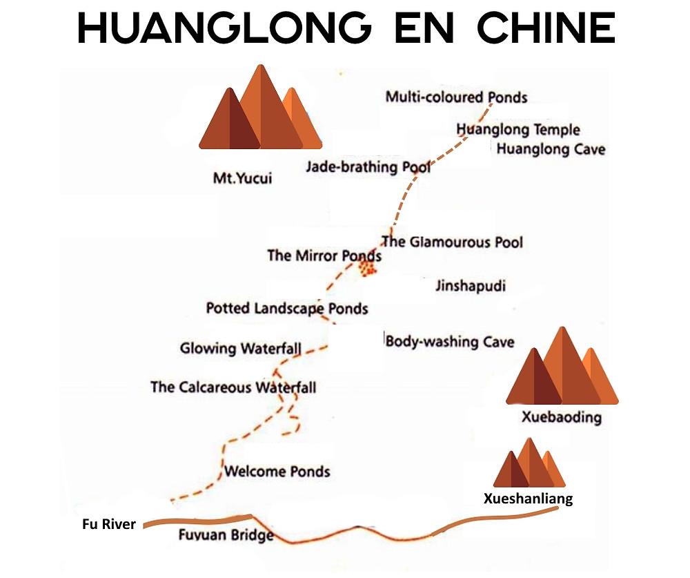 Carte de Huanglong en Chine