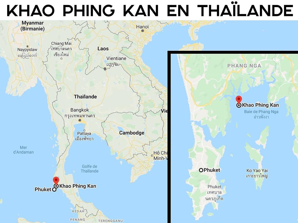 Carte Khao Phing Kan Thailande