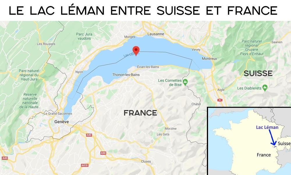 Carte lac léman france suisse