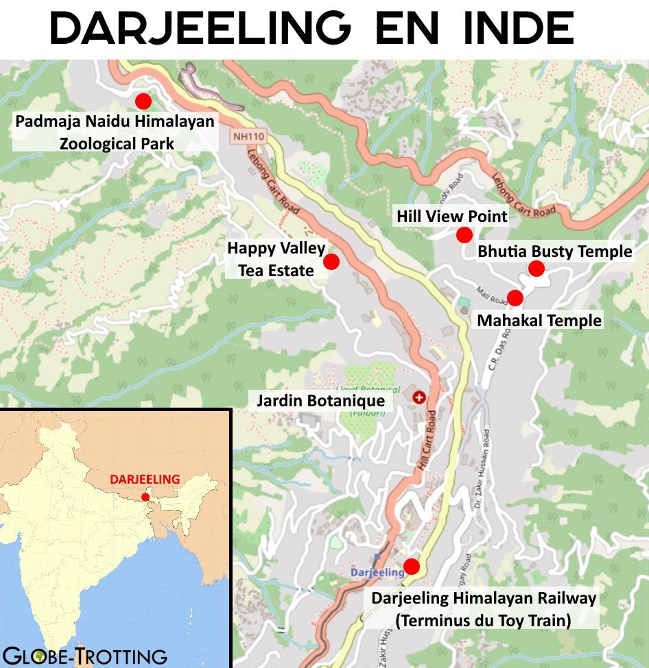 Carte de la ville de Darjeeeling