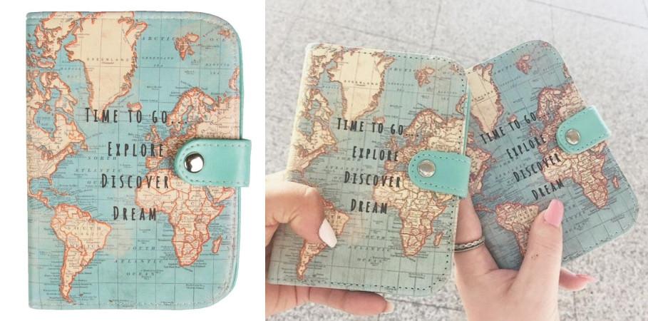 étui passeport carte du monde