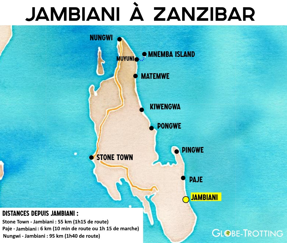 Carte Jambiani Zanzibar