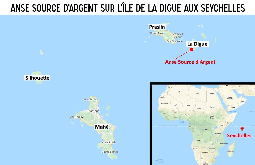 Carte Anse source d'argent seychelles