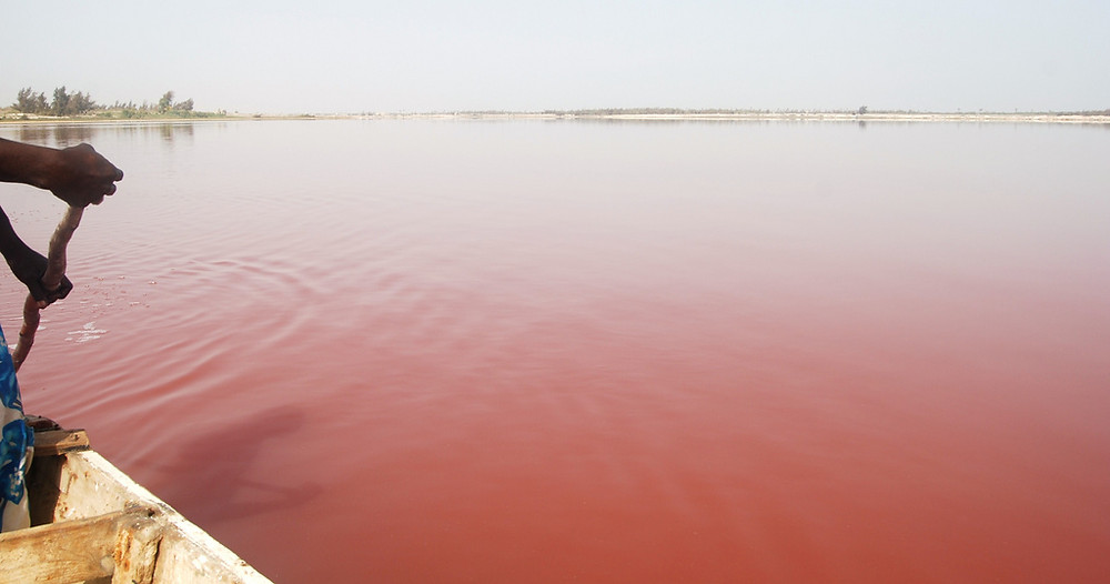 lac Retba rose du Sénégal pirogue
