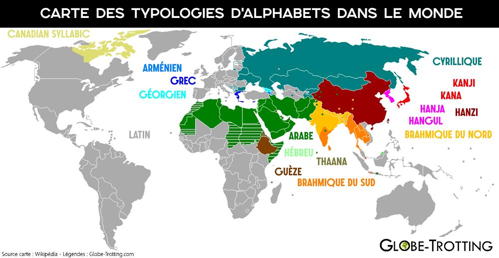 Carte alphabets dans le monde