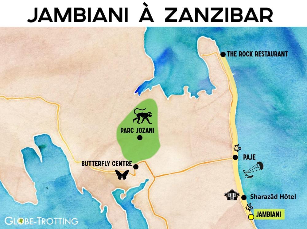 plan touristique de Jambiani zanzibar