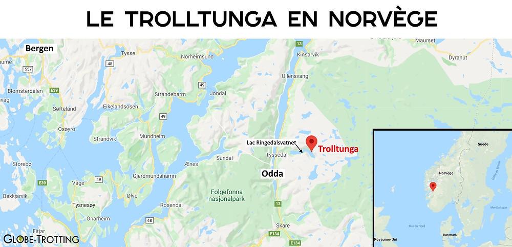 carte Trolltunga en Norvège