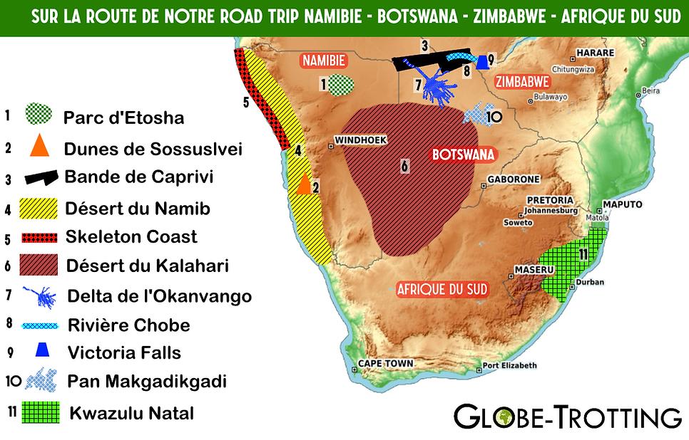Itinéraire afrique australe topographie