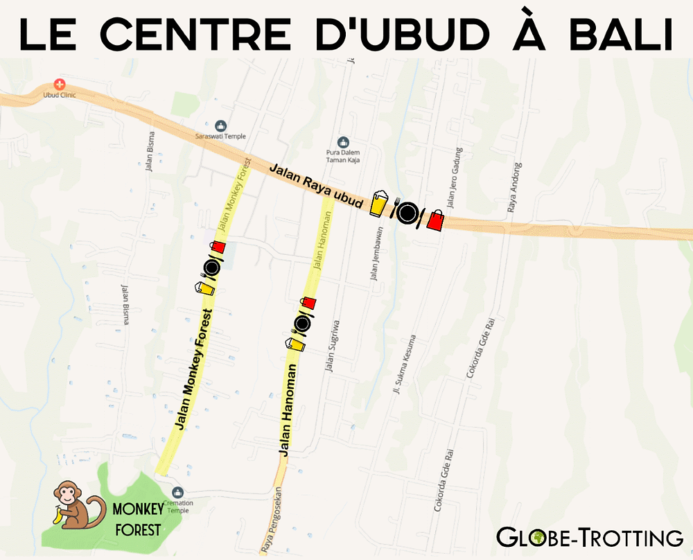 Centre de bali carte plan de ville