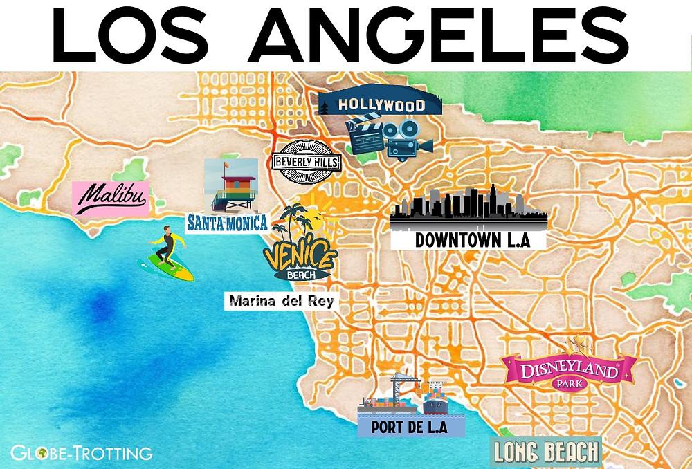 carte touristique los angeles