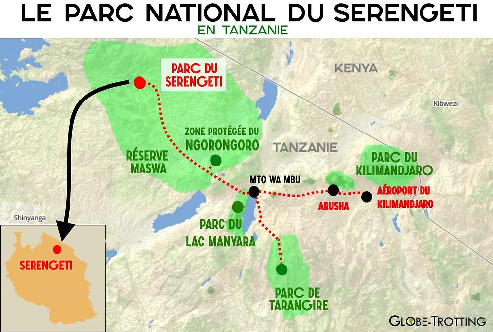 Carte parc serengeti Tanzanie