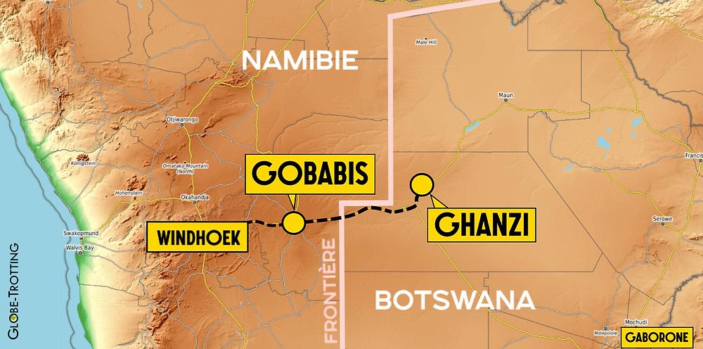 Carte Ghanzi Botswana Gobabis Map