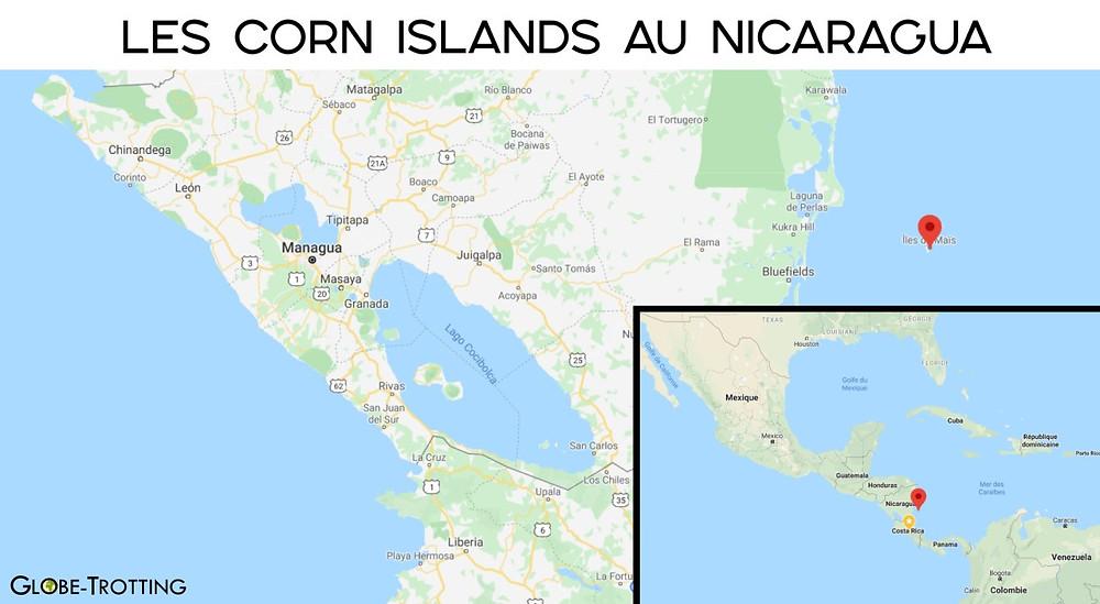 carte Little Corn island au Nicaragua