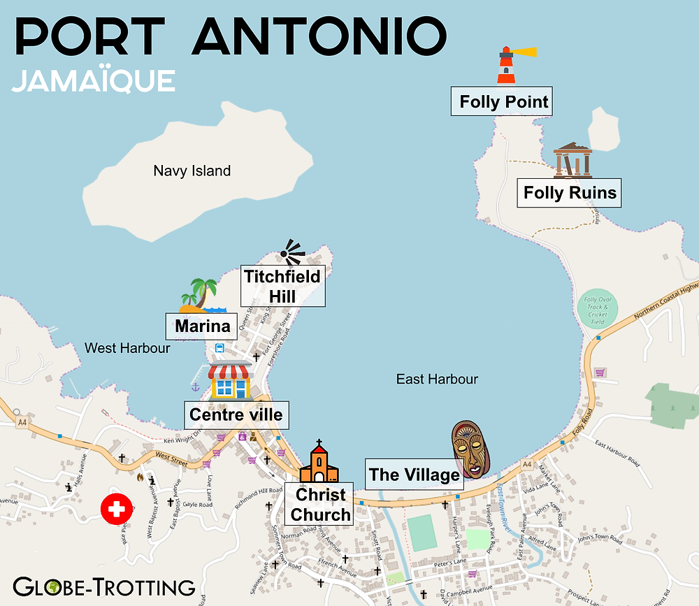 Port Antonio city map plan de la ville