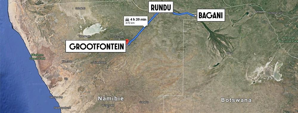 rundu à Grootfontein map carte