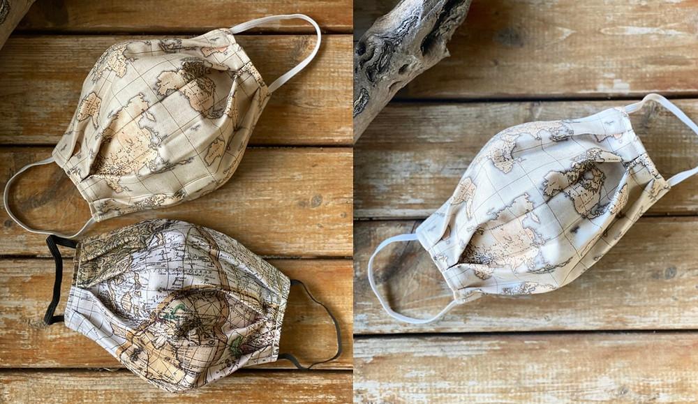 masque tissu vintage carte du monde