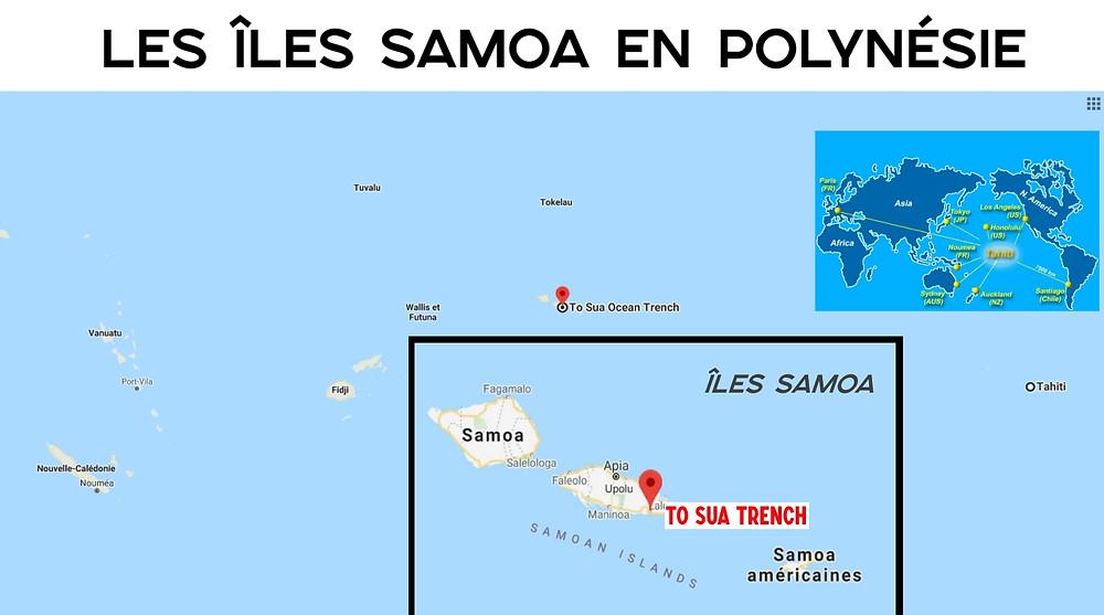carte Samoa Polynésie ocean trench