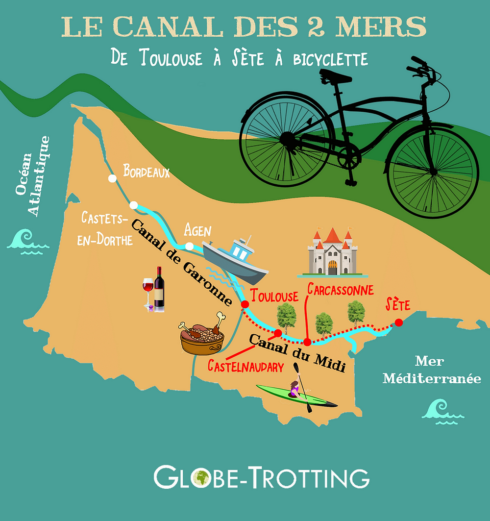 Canal du Midi à vélo Toulouse Sète