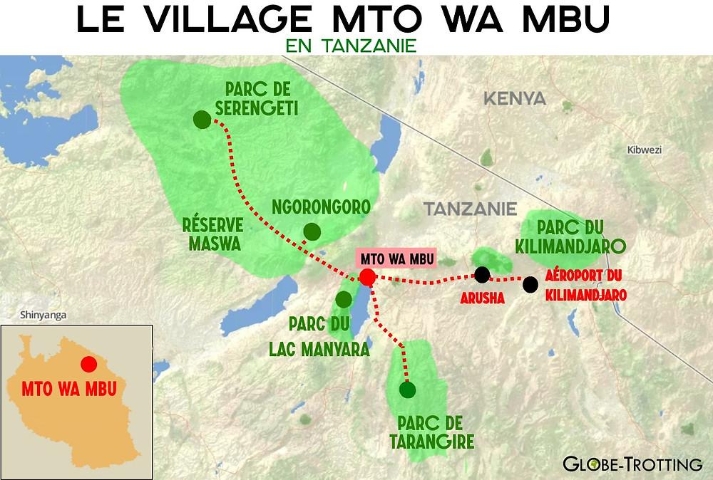 Mto Wa Mbu carte Tanzanie