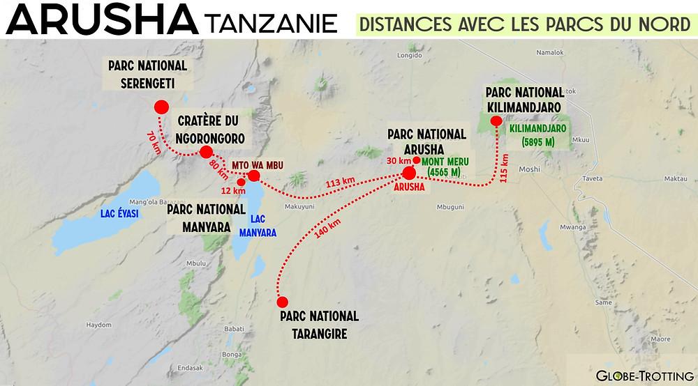 Carte Arusha Tanzanie distances parcs du nord