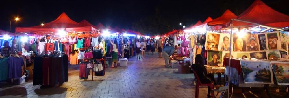 Marché de nuit à Vientiane Laos
