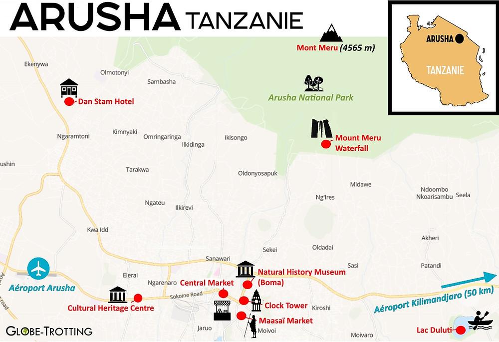 Plan Carte Arusha Tanzanie city map
