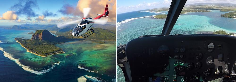 Hélicoptère cascade sous marine ile maurice