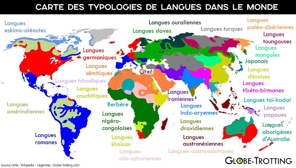 Carte langues étrangères Monde