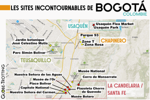 Carte touristique Bogota à voir