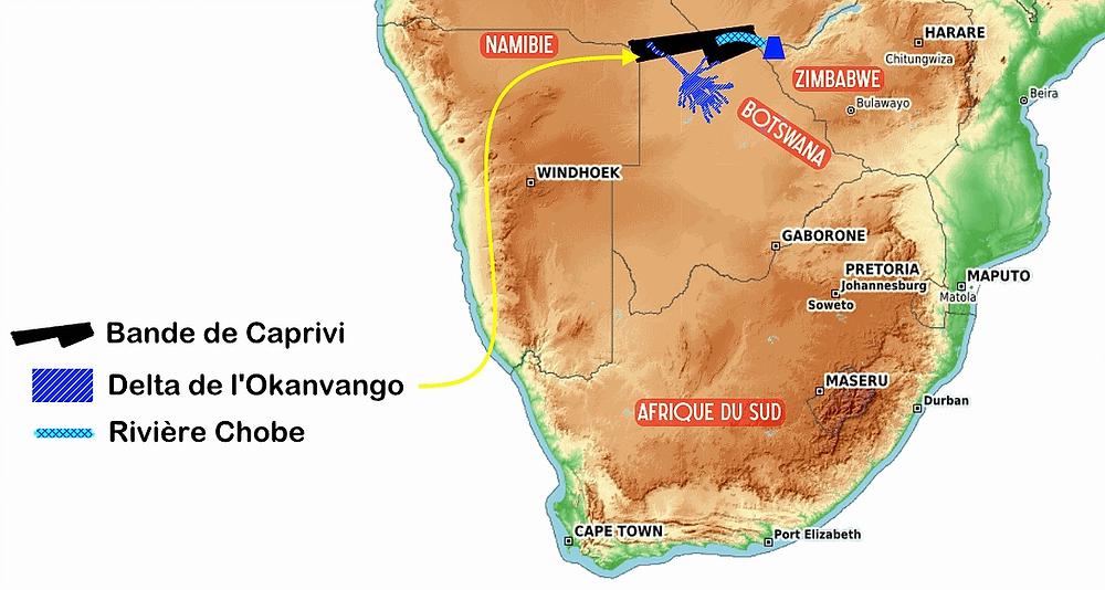 Carte Delta de l'Okavango