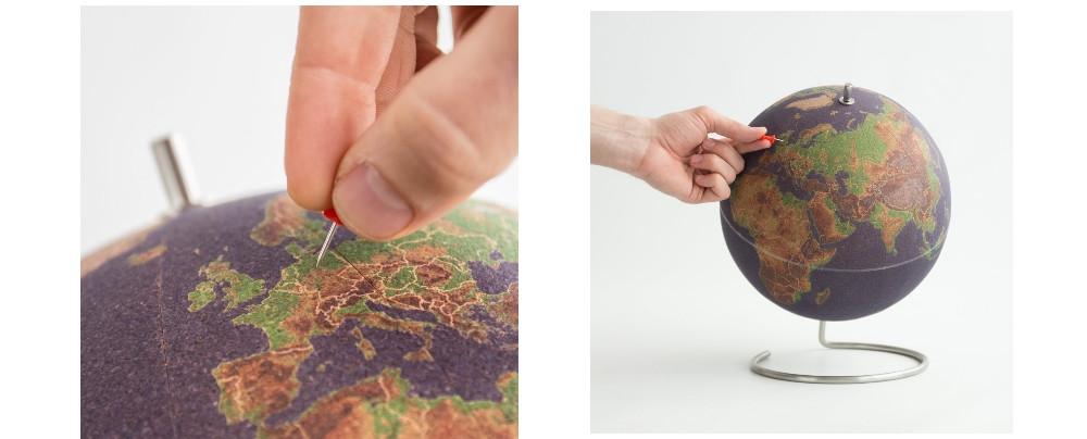 Globe terrestre liège en couleurs