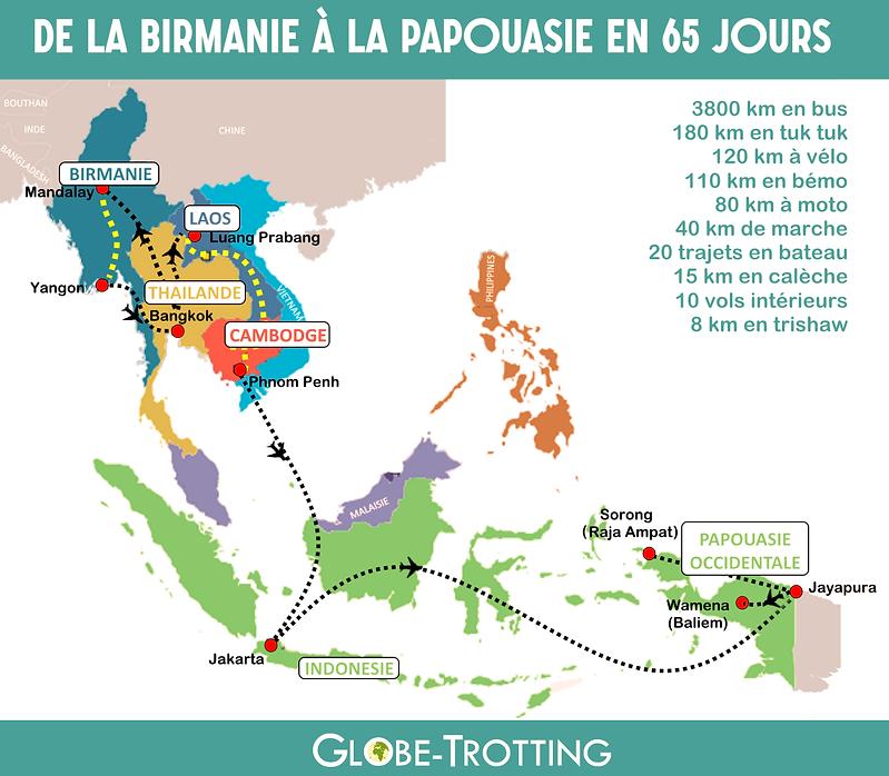 Carte itinéraire voyage asie sud est