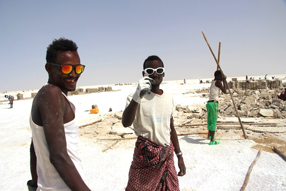 Travailleurs sel lac Karoum Ethiopie