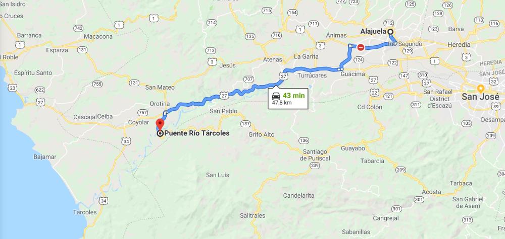 route alajuela tarcoles