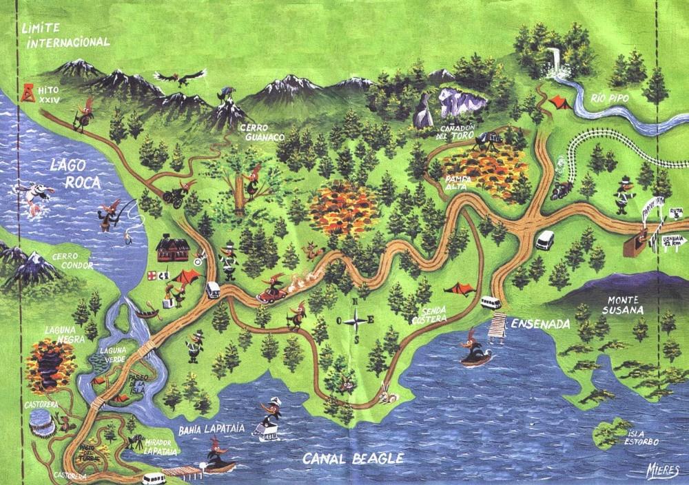 plan des sentiers parc de la terre de feu