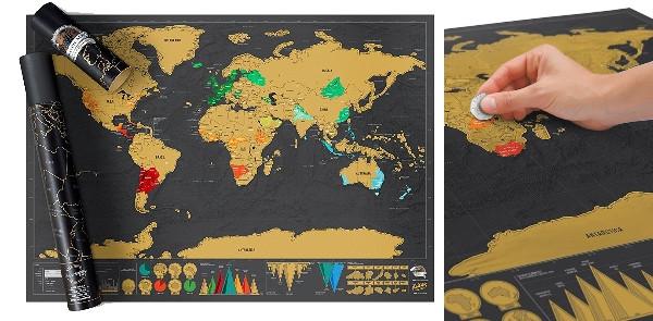 carte du monde deluxe noire à gratter
