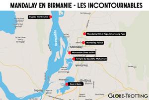 Plan carte touristique ville Mandalay