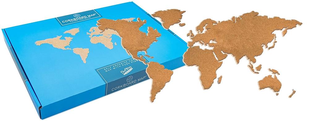 Carte du monde en liège à offrir
