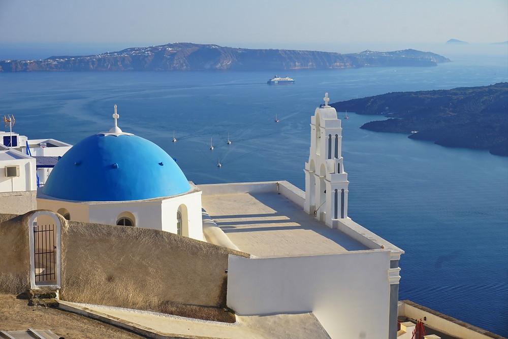 Santorin Grèce Toit bleu