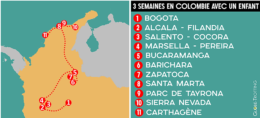 Carte Itineraire Voyage 3 semaines Colombie