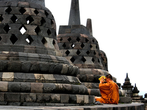 Candi Borobudur sur l'île de Java en Indonésie