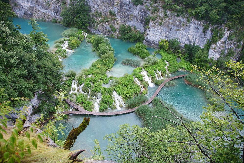 lacs de Plitvice en Croatie vu de haut
